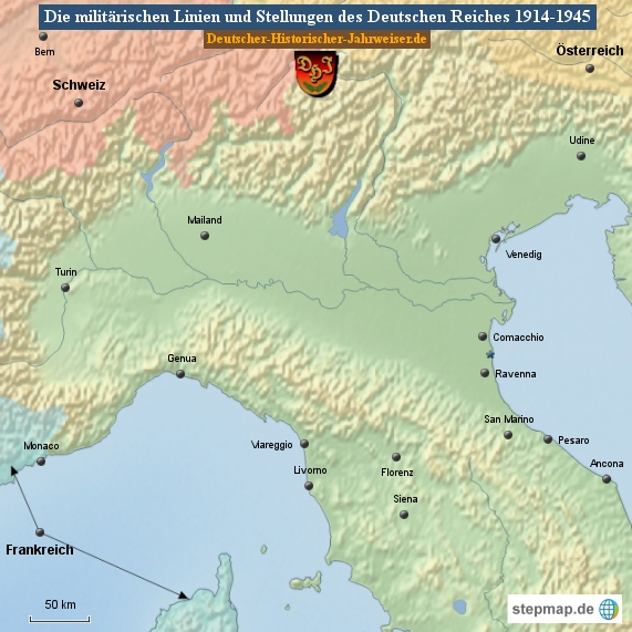 Die militärischen Linien und Stellungen des Deutschen Reiches 1914-1945 (Karte Italien 2)