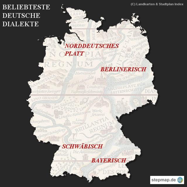 Landkarten & Stadtplan Index - Beliebteste deutsche Dialekte