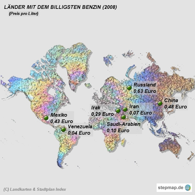 Landkarten & Stadtplan Index - Länder mit dem billigsten Benzin