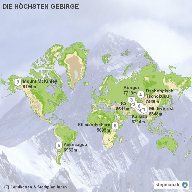 Landkarten & Stadtplan Index - Die höchsten Gebirge der Welt
