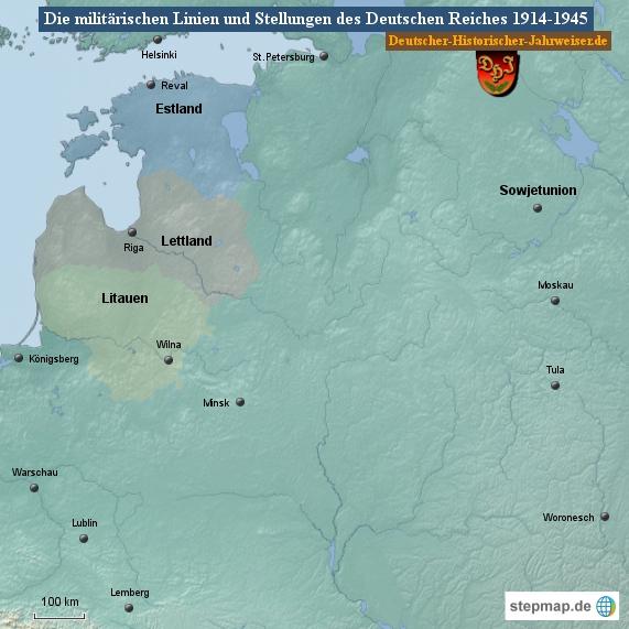 Die militärischen Linien und Stellungen des Deutschen Reiches 1914-1945 (Karte Sowjetunion 1)