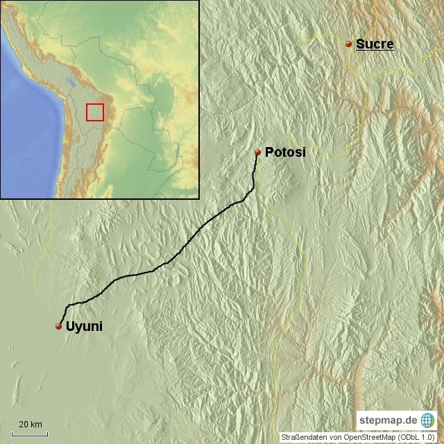 Uyuni - Potosi 200 km super Straße