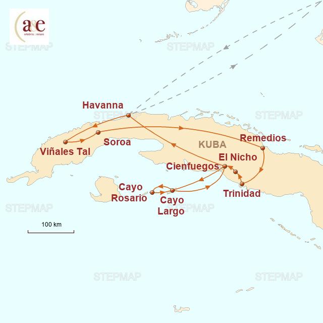 Routenkarte zur Reise Sonne, Salsa, Segeltörn