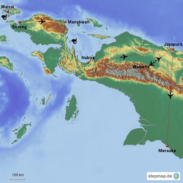 Hier sind die 5 Regionen die wir besuchen wollen: Von Sorong über Waisai zu einer kleinen Insel. Dann wieder zurück und weiter Richtung Manokwari und Nabire. Dazwischen ist die inselgruppe mit den Walhaien.  Von Nabire aus kann man weiterfliegen--nur die Strecke Manokwari bis Nabire gilt zu überwinden--da finden wir keine Flüge. Von der Hauptstadt Jayapura müssen wir auch wieder nach Wamena, ins Baliem Tal fliegen--es gibt dort kein ausgebautes Straßensystem. Dann wieder zurück und nach Merauke, zu einem Nationalpark. Dort erwarten uns freilebende Baumkänguruhs. Merauke ist unsere letzte Station, von dort fliegen wir den langen Weg wieder über Jakarta zurück