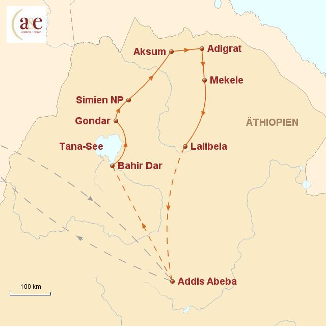 Routenkarte zur Reise Wiege der Menschheit – ZEIT REISEN