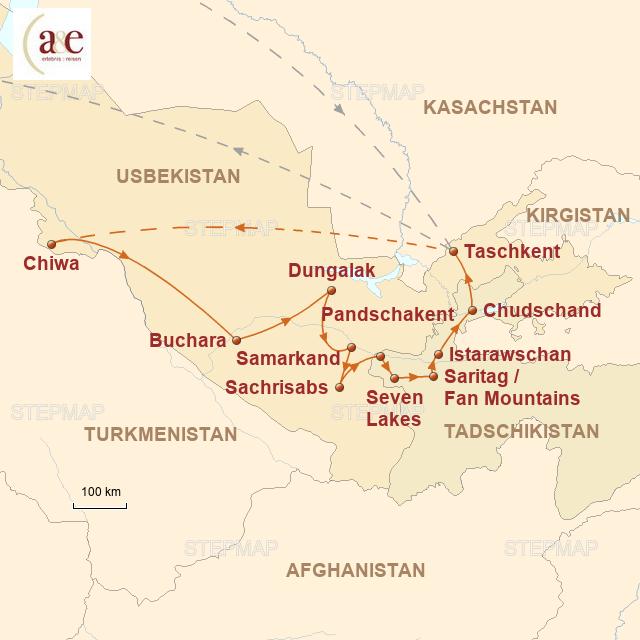 Routenkarte zur Reise Moscheen, Minarette & Bergwelten