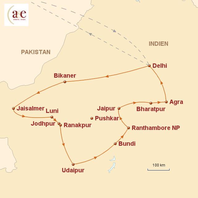 Routenkarte zur Reise Rajasthan – Paläste, Feste und die Wüste 2017