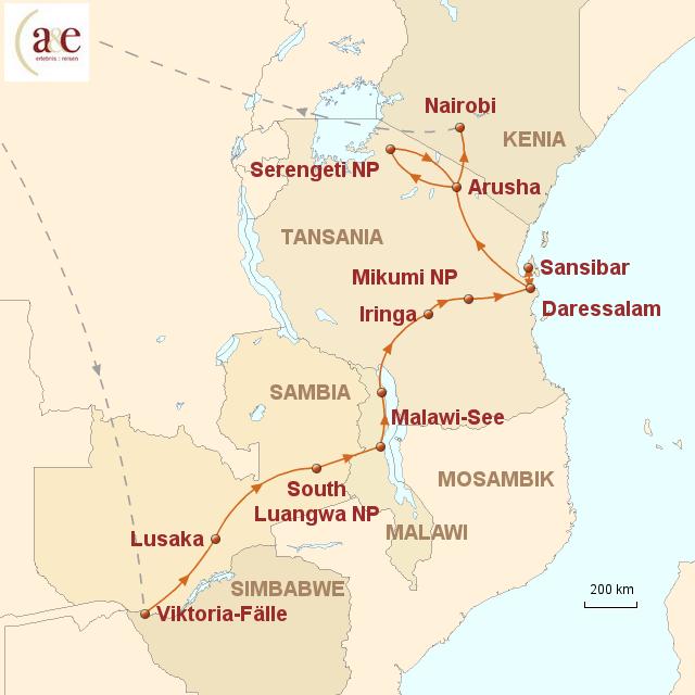 Routenkarte zur Reise Safari durch fünf Länder - Abenteuer Ostafrika