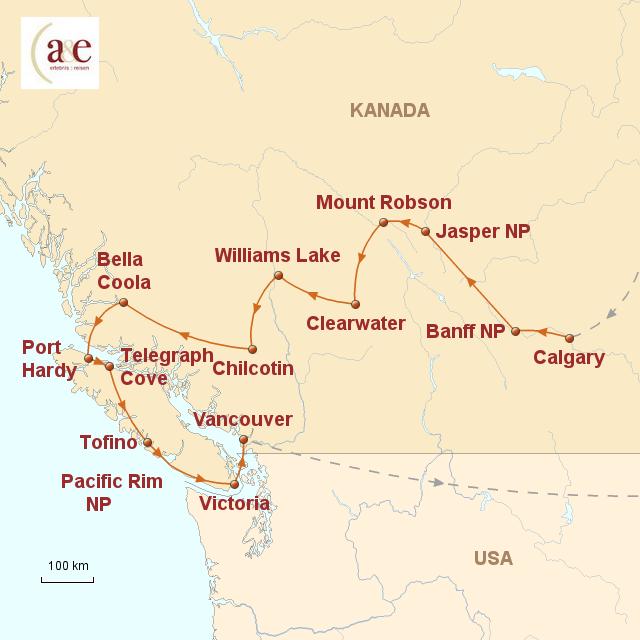 Routenkarte zur Reise Lodge- & Ranchtour: Rocky Mountains bis Pazifik