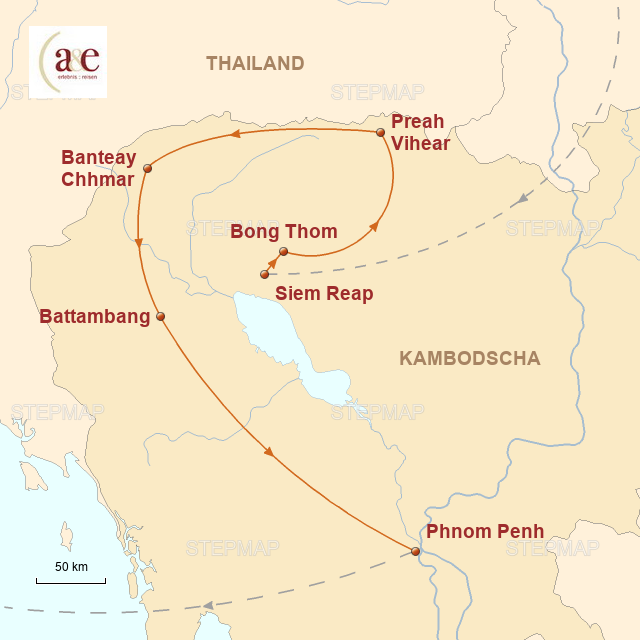 Routenkarte zur Reise Entdeckungsreise im Reich der Khmer