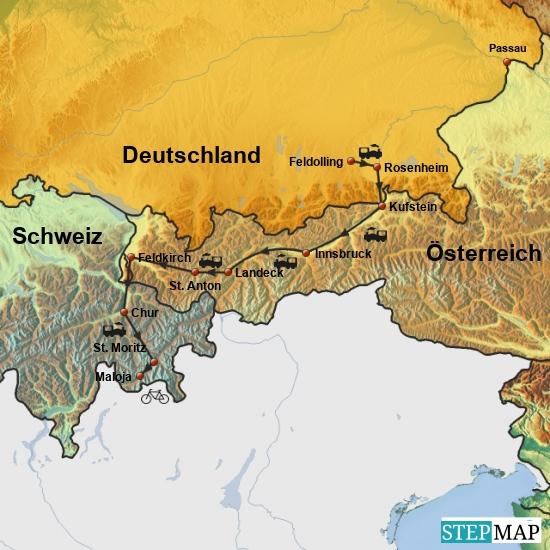Anfahrt am 6. Juni 2016 mit dem Zug über Rosenheim, Kufstein, Innsbruck, die Arlbergstrecke, Feldkirch, Chur und Albulastrecke nach  St. Moritz, von dort das letzte Teilstück mit dem Rad zur ersten Unterkunft nach Maloja.