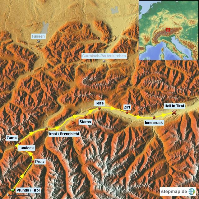 2. Etappe von Pfunds/Tirol nach Hall in Tirol am 8.6.2016