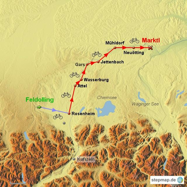 4. Etappe am 22.6.2016 von Feldolling über Rosenheim, Wasserburg und Mühldorf nach Marktl am Inn. Anfahrt vom Heimatort Feldolling entlang der Mangfall zu deren Mündung in den Inn in Rosenheim und von dort am Unterbrechungspunkt vom 9.6.2016 Wiederaufnahme der Inn-Radtour.