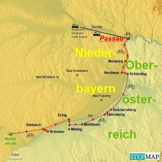 5. Etappe (Schlußetappe) am 23.6.2016 von Marktl am Inn über Simbach, Obernberg, Schärding und Neuhaus nach Passau zur Mündung des Inn in die Donau am Dreiflüsseeck - ein Navi würde sagen: SIE HABEN IHR ZIEL ERREICHT !!!