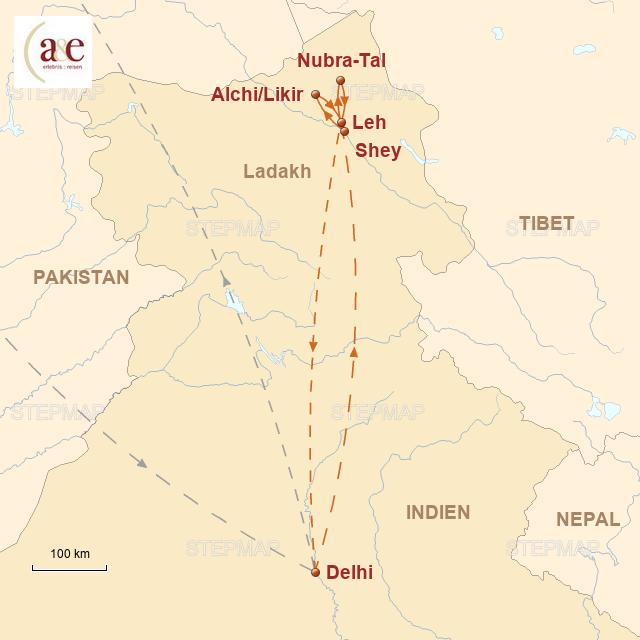 Routenkarte zur Reise Bergriesen und bunte Klosterfeste