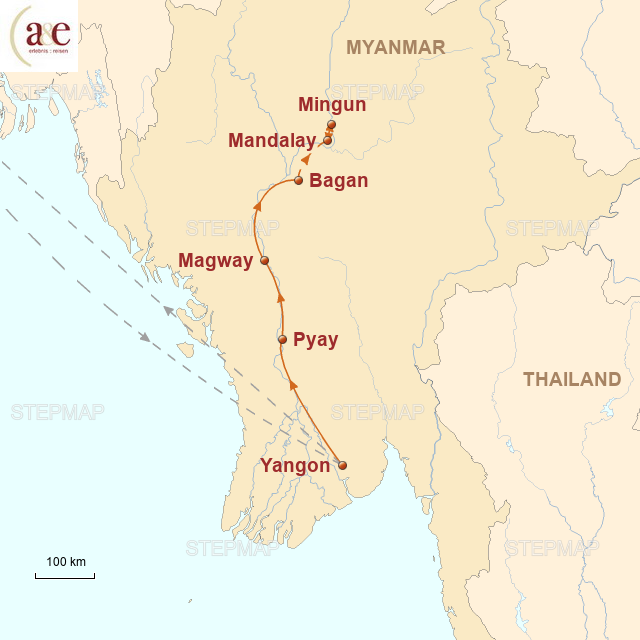 Routenkarte zur Reise Entlang des Irrawaddy-Flusses
