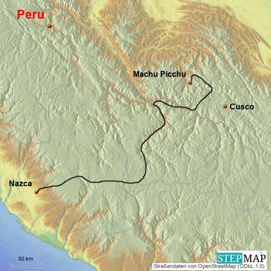 Von Santa Teresa nach Nazca, 750 km, 4 Tage