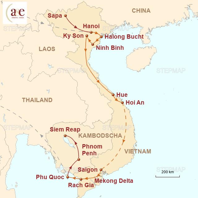 Routenkarte zur Reise Vielfalt und Mythen Vietnams erleben