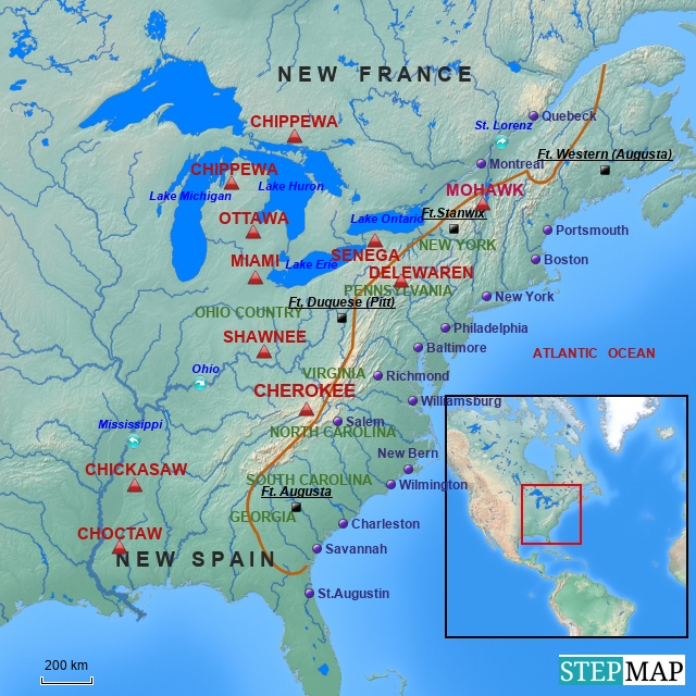 Englische Kolonialgebiete um 1750