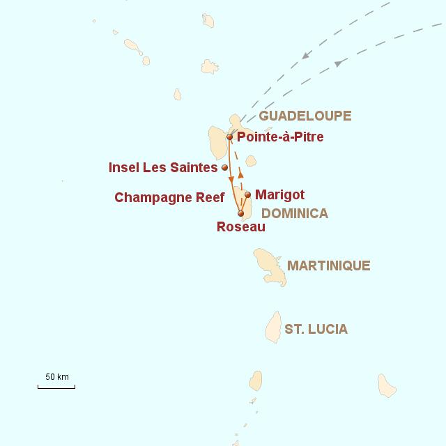 Routenkarte zur Reise Karibik aktiv