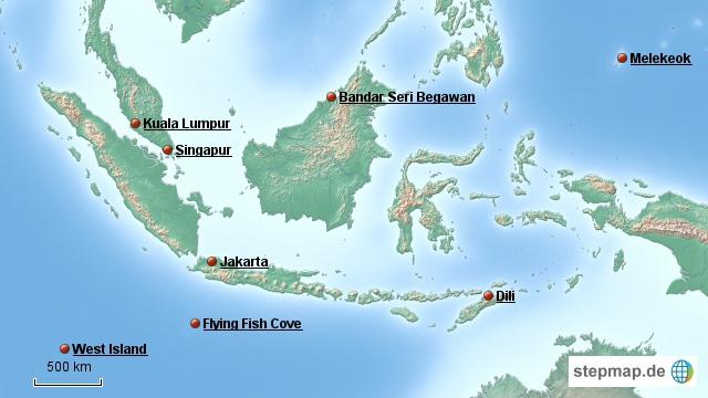 Hier eine Übersicht von Indonesien, mit der Hauptstadt Jakarta.  Jakarta liegt auf der Insel Java und östlich davon, die kleine, ist Bali. Mein Flieger geht nach Jakarta und somit ist dort der Start der Tour.