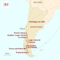 Routenkarte zur Reise Patagonien Pur