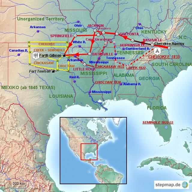 Hauptrouten Cherokee-Trail of Tears