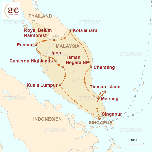 Routenkarte zur Reise Malaysische Halbinsel erfahren! (Mietwagen-Reise)