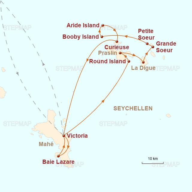 Routenkarte zur Reise Segelcruise durch zauberhafte Inselwelten