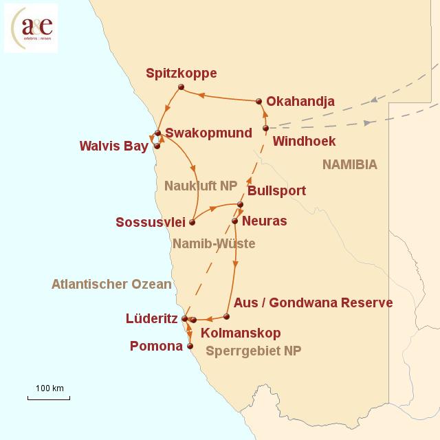 Routenkarte zur Reise Diamant der Wüste - ZEIT REISEN