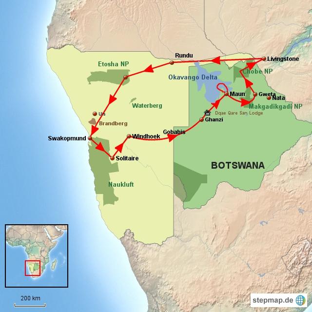 SW Namibia & Botswana Rundreise