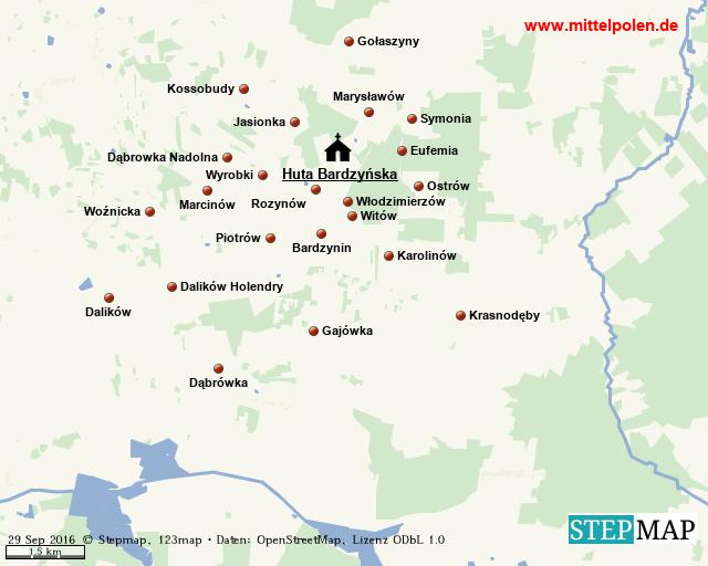 Karte Filial Huta Bardzynska