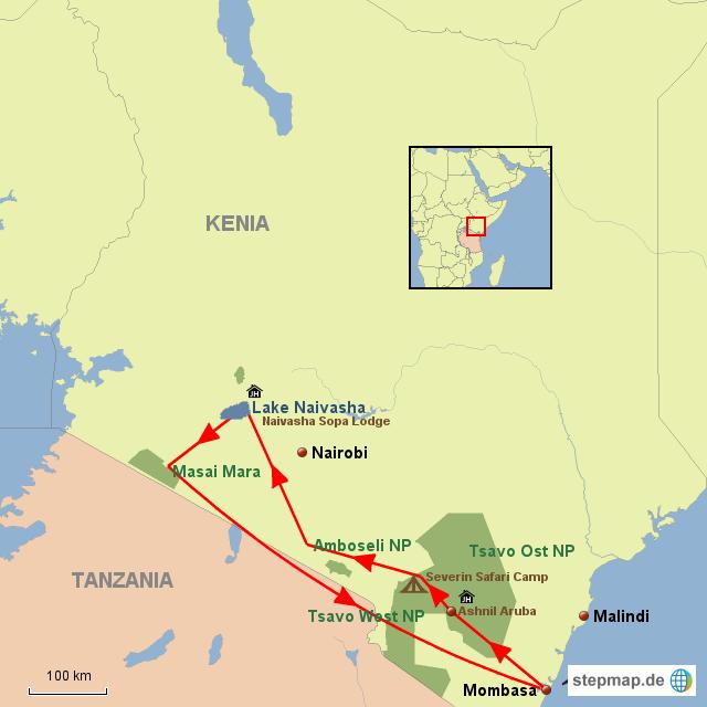 KE Große Kenia Lodge Safari