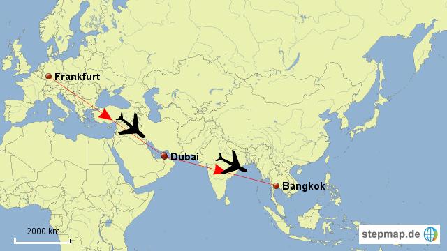 Damit wäre der längste Teil der Anreise geschafft....nun geht es trotzdem nach ein paar Stunden Aufenthalt in Bangkok weiter....: