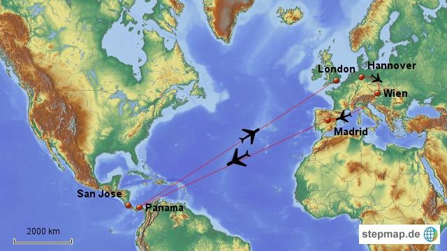 Wir starten in Hannover und fliegen von dort nach Wien-übernachten dort und dann geht es weiter über Madrid nach Panama-City. Der Rückflug ist kürzer und geht nur über London