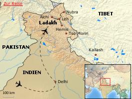 Karte von Ladakh Festivals hautnah - eine Kultur- und Begegnungsreise im Himalaya