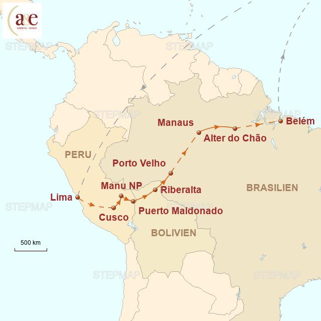Routenkarte zur Reise Mythos Amazonien