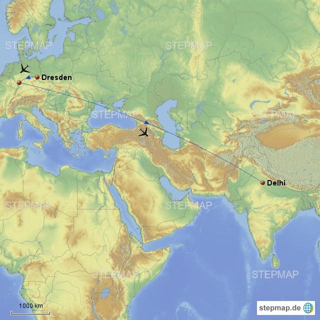 Knapp 1 Stunde von Dresden, dann 5 Stunden Aufenthalt in Frankfurt, eh es knapp 7 Stunden nach Delhi ging.
