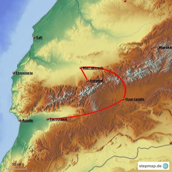 Von Marakesch werden wir einen Auflug ins Ourika-Tal unternehmen und dann geht es mit dem Leihwagen über den schönsten Pass Richtung Ouarzazate und Taroudannt. Den Rest des Weges planen wir unterwegs ...