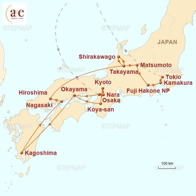 Routenkarte zur Reise Komfort auf Japanisch