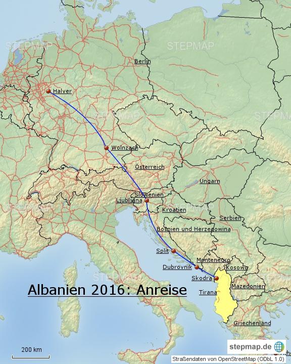 Albanien 2016: Anfahrt