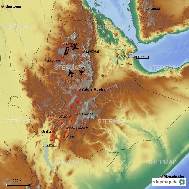 Hier habe ich  mal grob unsere Anlaufpunkte. Da die Wege doch weit sind, müssen wir einige Inlandflüge nehmen.Zuerst soll es nach Lalibela gehen, wo es die berühmten Felsenkirchen gibt. Dort halten wir uns 3-4 Tage auf und machen evtl noch eine Trekkingtour. Danach geht es mit dem Bus nach Gondar, die Stadt mit dem arabischen Flair.Hier ist der Weg bis zu dem tollen Wasserfall am blauen Nil nicht weit. Wenn es sich ergibt, wollen wir auch hier eine Trekkingtour ins Siminien Gebirge machen.Zurück soll es wieder per Flugzeug nach Addis Abeba gehen. Dann in die andere Richtung: über Arba Mintch nach Konso und Jinka zu den Einheimischen mit dem tollen Körperschmuck. Dafür sollte man sich aber einen Guide suchen. Wenn es die Zeit erlaubt bleibt auf dem Rückweg noch ein Besuch im Nationalpark bei AA und ein Besuch bei den Stehlen von Tiya.