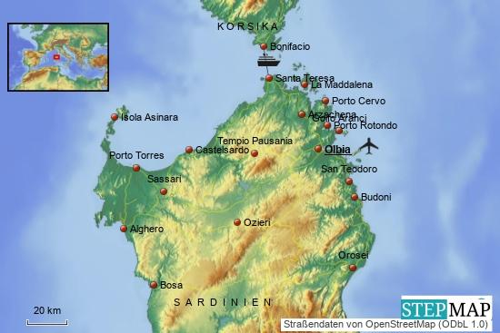 Die Nordhälfte der Insel Sardinien