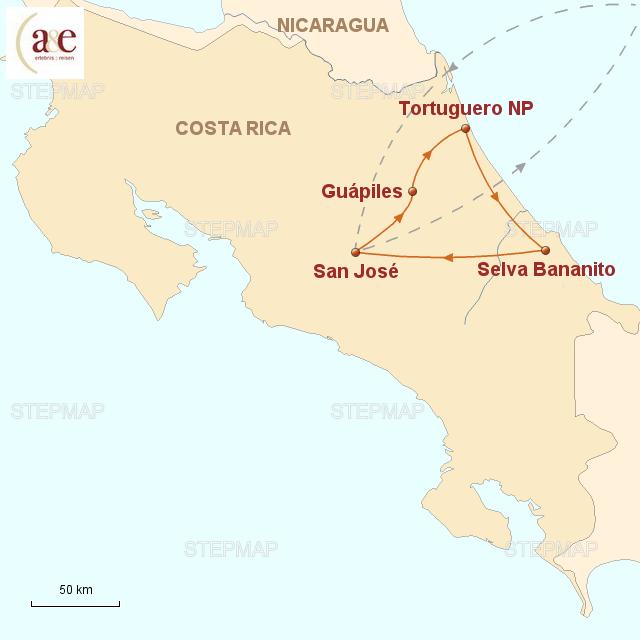 Routenkarte zur Reise Tortuguero & Selva Bananito