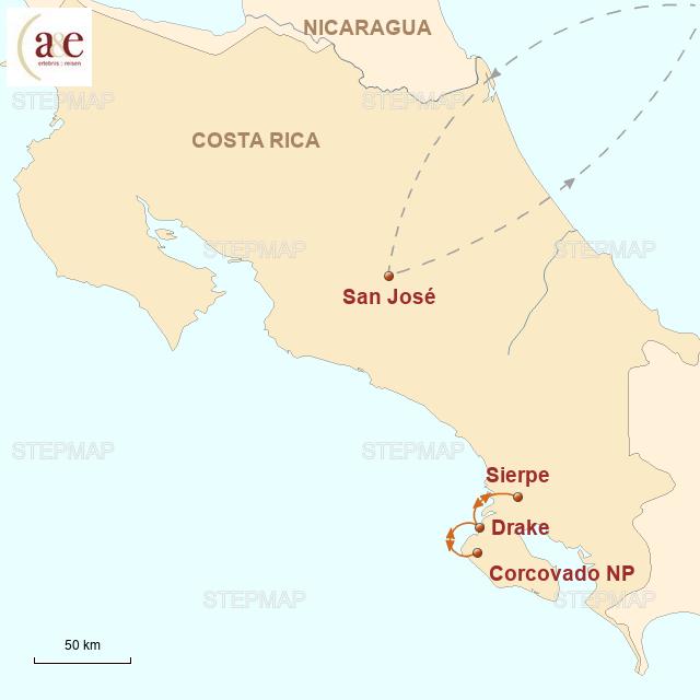 Routenkarte zur Reise Tropenparadies Corcovado