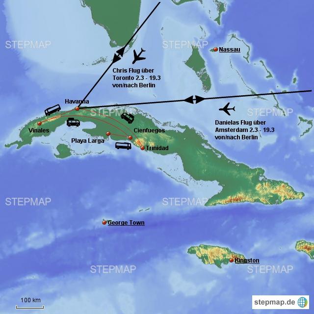 Unsere Reiseroute in Kuba