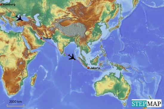 Wir fliegen von Hamburg über Dubai erstmal nach Jakarta