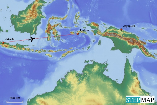 """Von Jakarta soll es als erstes nach """"Ambon"""" gehen--das ist die größte der Molukkeninseln"""