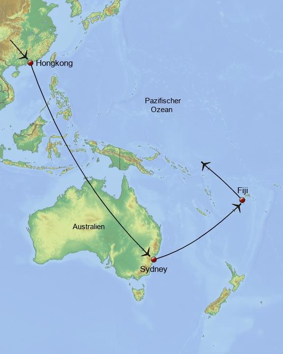 Rundreise Hong Kong Australien, Fiji und zurück