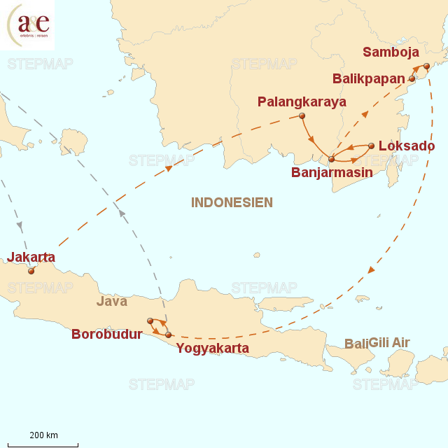Routenkarte zur Reise Borneo & Java mit dem Borneo Orang Utan Survival e.V.